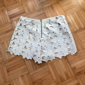 Alice and Olivia Laser Cut Floral Shorts